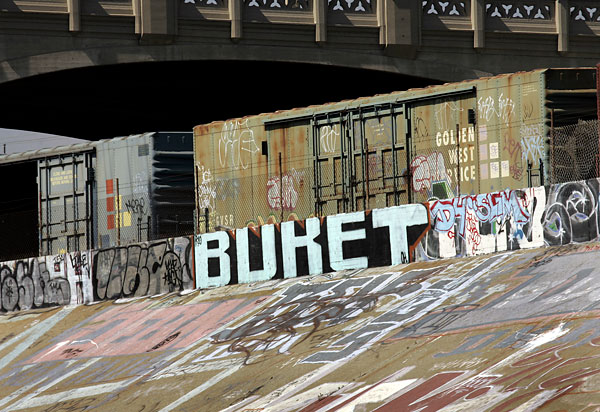 Photo: A Buket tag in the Los Angeles River captured in May 2008.
