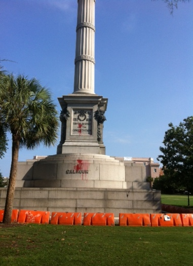 Base of John Calhoun's statue in Charleston, South Carolina. June 2015. Photo by Bradley Dunseith CC BY-NC-PSA 4.0